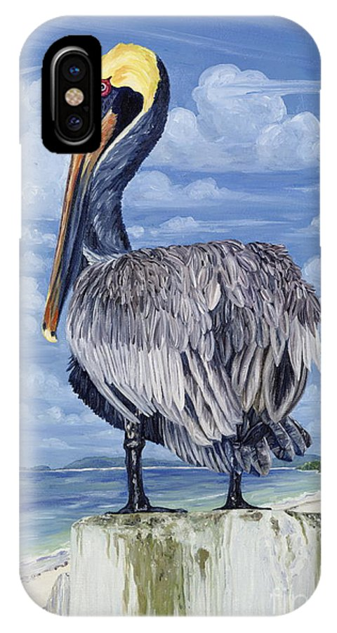 Seascape IPhone X Case featuring the painting Pelican Perch by Danielle Perry