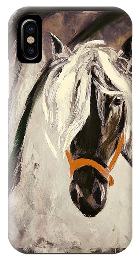 Horses IPhone X Case featuring the painting The Performer by Gina De Gorna