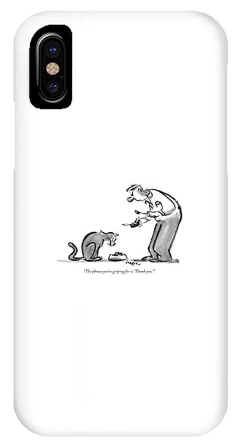 Dining IPhone X Case featuring the drawing The Phrase You're Groping For Is 'thank You.' by Lee Lorenz