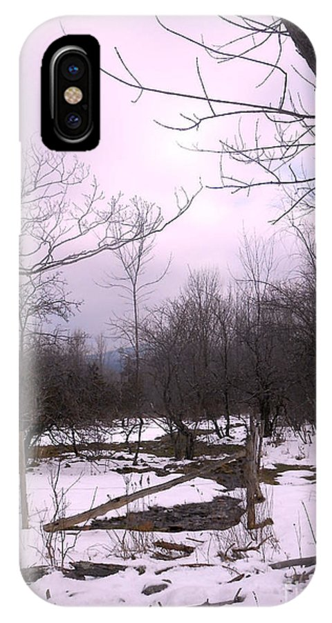 Snow IPhone X Case featuring the photograph The Pink Winter Light On The Mountain Top by Patricia Keller