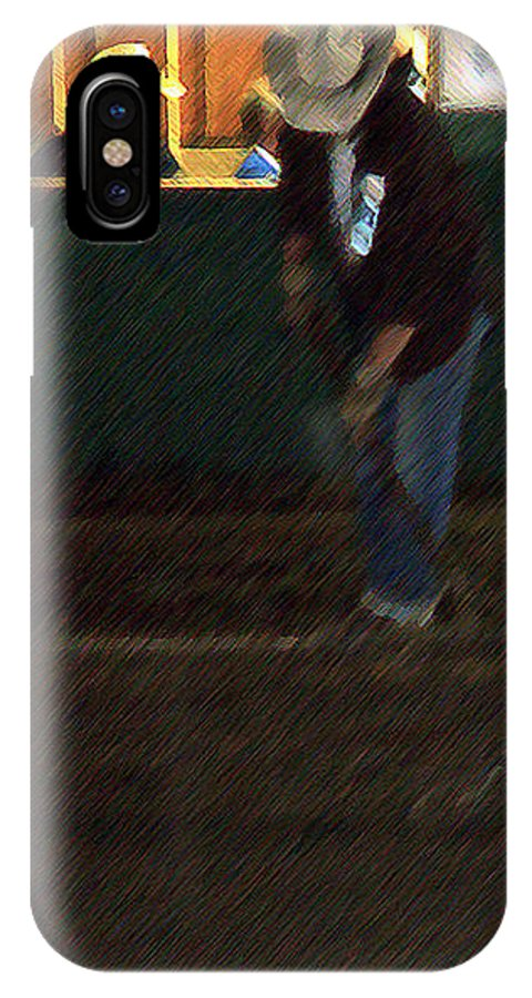 Men IPhone X Case featuring the painting The Pit Crew by RC DeWinter