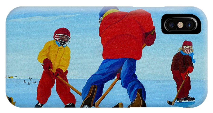 Winter IPhone X Case featuring the painting The Pond Hockey Game by Anthony Dunphy