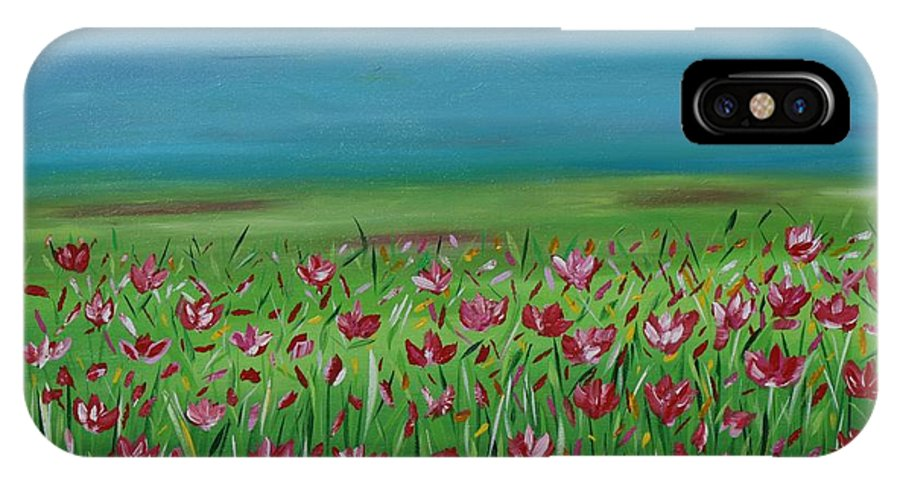 Poppy Field IPhone X Case featuring the painting The Poppy Field by Suzette Schutze
