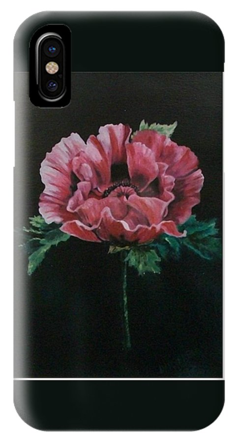 Flower IPhone X Case featuring the painting The Poppy by Wanda Dansereau