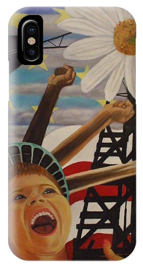 Little Boy IPhone X Case featuring the painting The Power Of A Dream by Jamie Preston