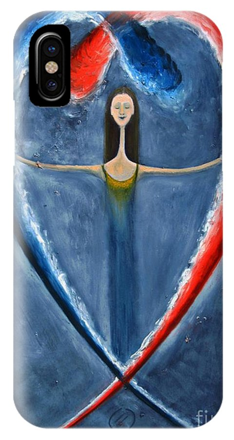 Love IPhone X Case featuring the painting The Power Of Love by Corinna Lorena Carrara