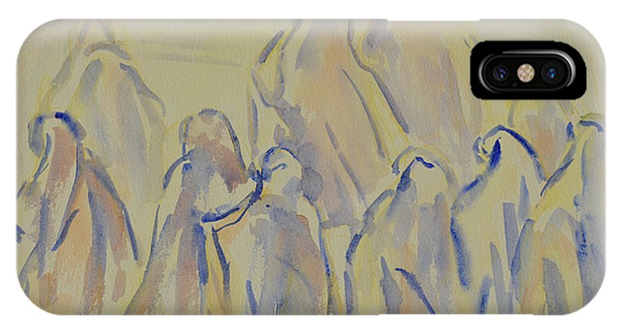 Muslim IPhone X Case featuring the painting The Prayers...ii by Xueling Zou