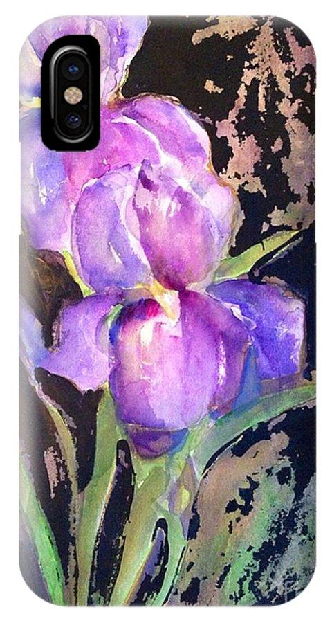 Iris IPhone X Case featuring the painting The Purple Iris by Sherry Harradence