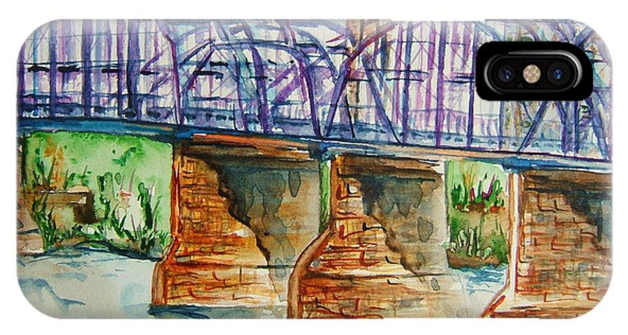 Bridge IPhone X Case featuring the painting The Purple People Bridge by Elaine Duras
