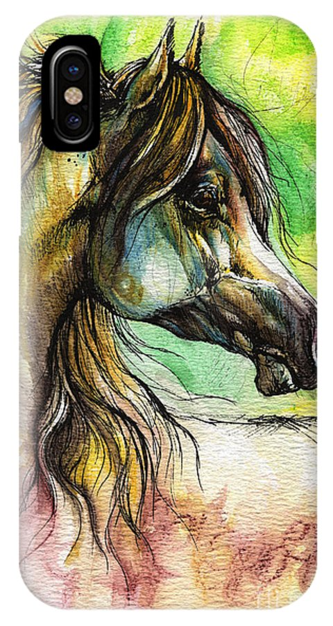 Horse IPhone X Case featuring the painting The Rainbow Colored Arabian Horse by Angel Ciesniarska