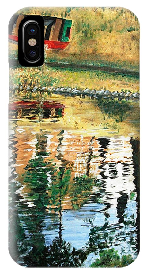 Red IPhone X Case featuring the painting The Red Boat by Bruce Combs - REACH BEYOND