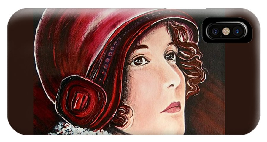 Red IPhone X Case featuring the painting Red Cloche by Barbara Chase