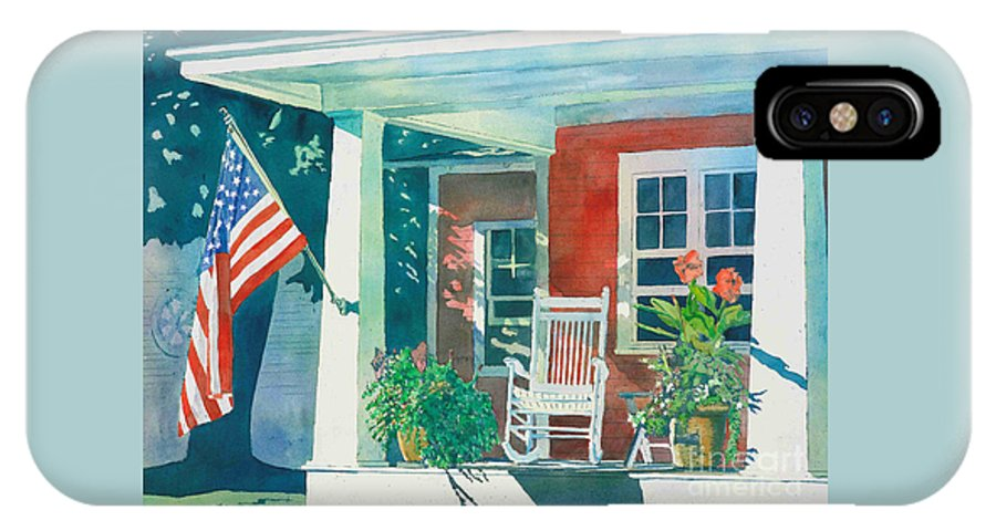 Pentwater IPhone Case featuring the painting The Red Cottage by LeAnne Sowa