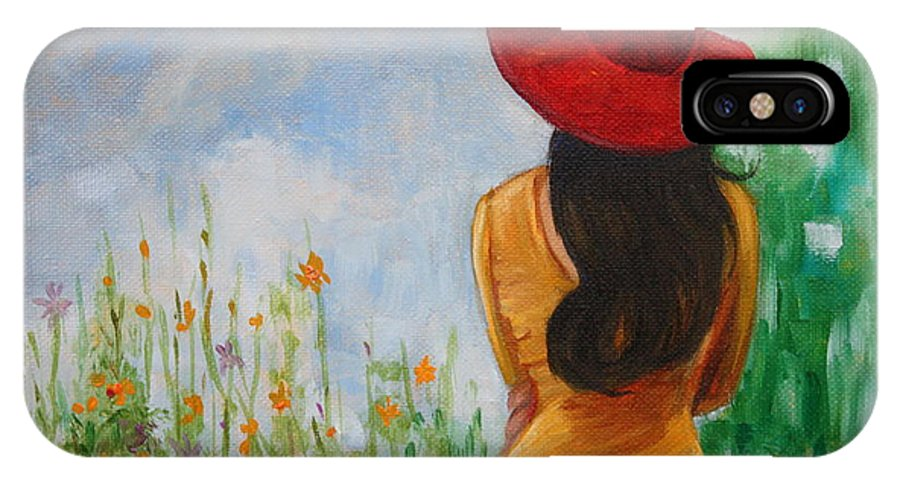Hilary J England IPhone X Case featuring the painting The Red Hat by Hilary England