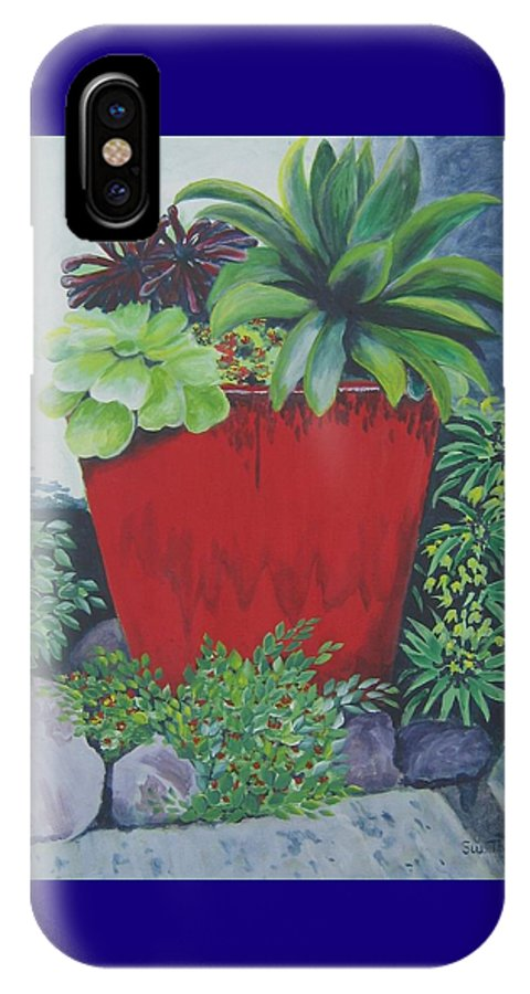Red Pot IPhone X Case featuring the painting The Red Pot by Suzanne Theis