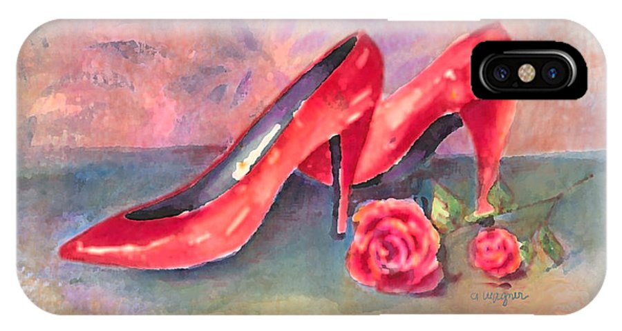 Shoe IPhone X Case featuring the painting The Red Shoes by Arline Wagner