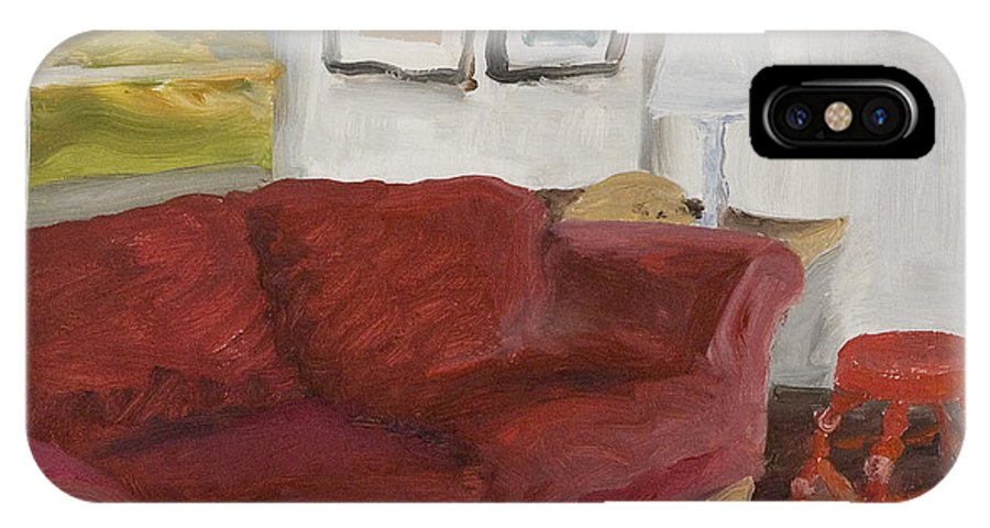 Still Life IPhone X Case featuring the painting The Red Sofa by William Van Doren