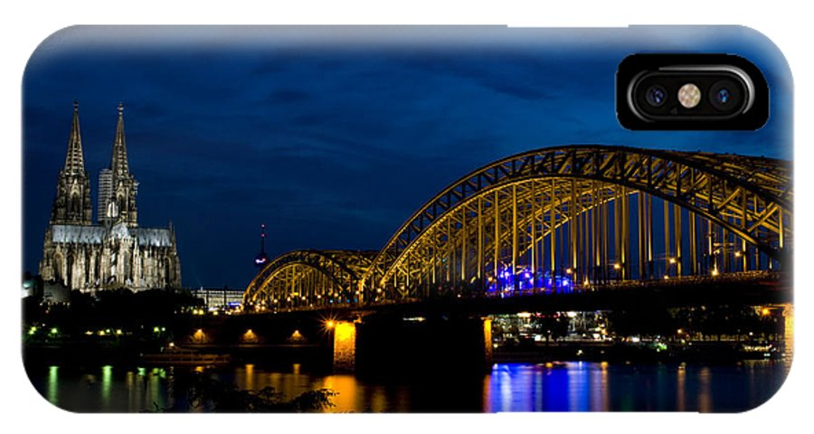 Cathedral IPhone X Case featuring the photograph The Rhine Rail Bridge And Cathedral Of Cologne by Dray Van Beeck