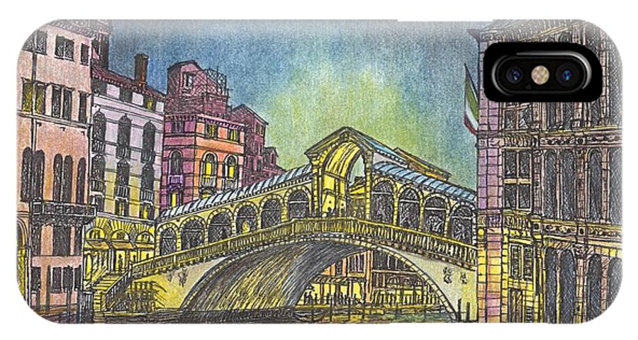 Light Reflections IPhone X / XS Case featuring the mixed media Relections Of Light And The Rialto Bridge An Evening In Venice by Carol Wisniewski