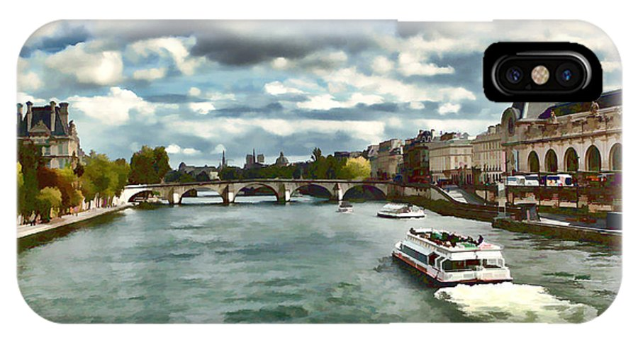 Europe IPhone X Case featuring the photograph The River Seine Paris France Digital Water Color by Tom Prendergast