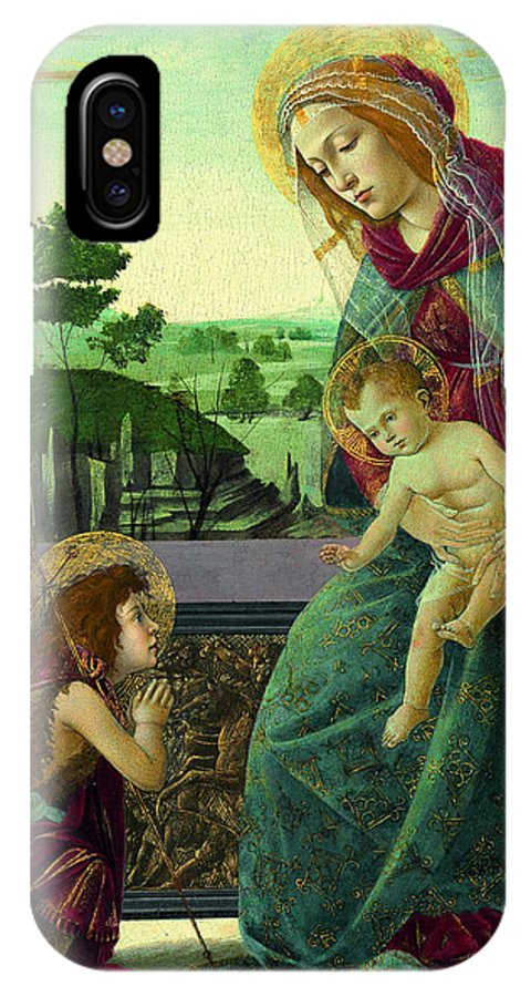 Sandro Botticelli IPhone X Case featuring the painting The Rockefeller Madonna. Madonna And Child With Young Saint John The Baptist by Sandro Botticelli