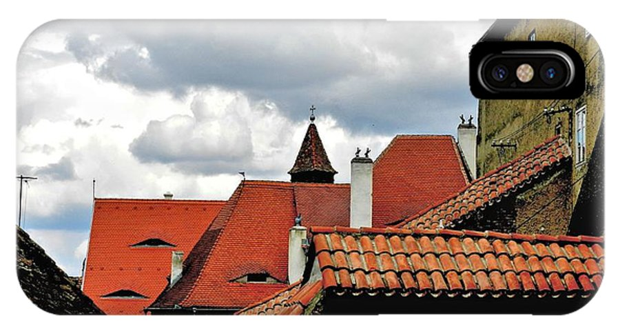 Art IPhone X Case featuring the painting The Roofs Of Sibiu In Transylvania by Ion vincent DAnu