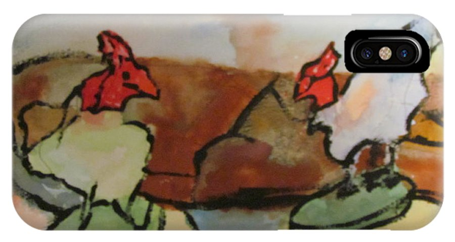 Roosters IPhone X Case featuring the painting The Roosters by Shea Holliman