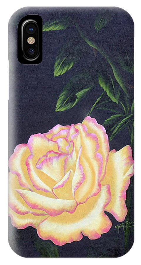 Rose IPhone X Case featuring the painting The Rose by Ruth Bares