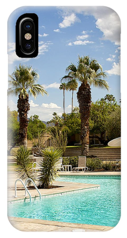 Sandpiper IPhone X Case featuring the photograph The Sandpiper Pool Palm Desert by William Dey