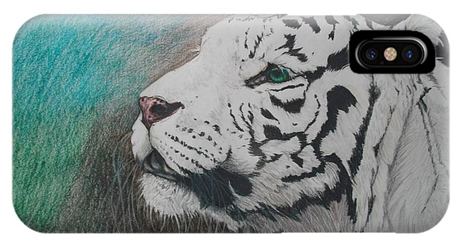 White Tiger Tigris Felinus Big Cat Wild Large Portrait Hunter Predator Carnivore Blue Green Woods Forest Black Stripes Eyes Realistic Realism Detailed Detail Details Nose Head Shot Mammal Animal Wildlife Nature Endangered Creature IPhone X Case featuring the drawing The Scent Of The Hunt by Maricay Smeenk