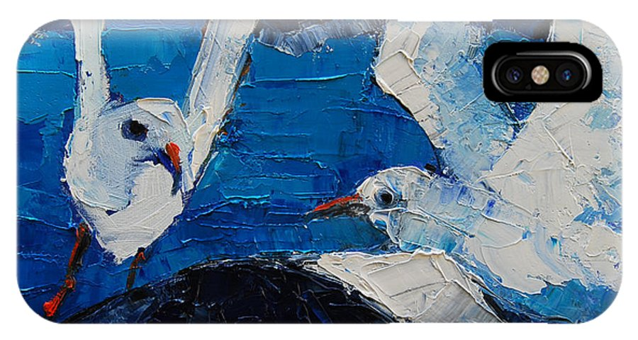 The Seagulls IPhone X Case featuring the painting The Seagulls by Mona Edulesco