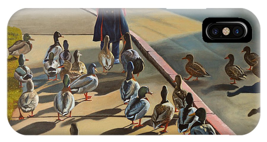 Duck IPhone X Case featuring the painting The Sidewalk Religion by Thu Nguyen
