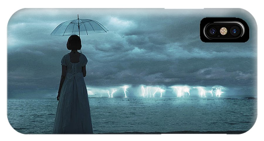 Lightning IPhone X Case featuring the photograph The Silent Sea by Terry F