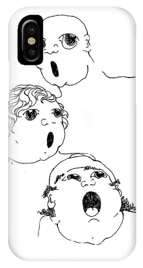 The Singers Greeting Card IPhone X Case featuring the drawing The Singers by Joy Bradley
