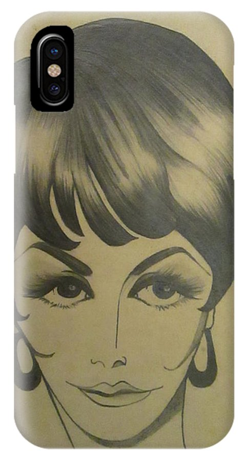Style IPhone X Case featuring the drawing The Sixties And Fashion Hair by Martha Nelson
