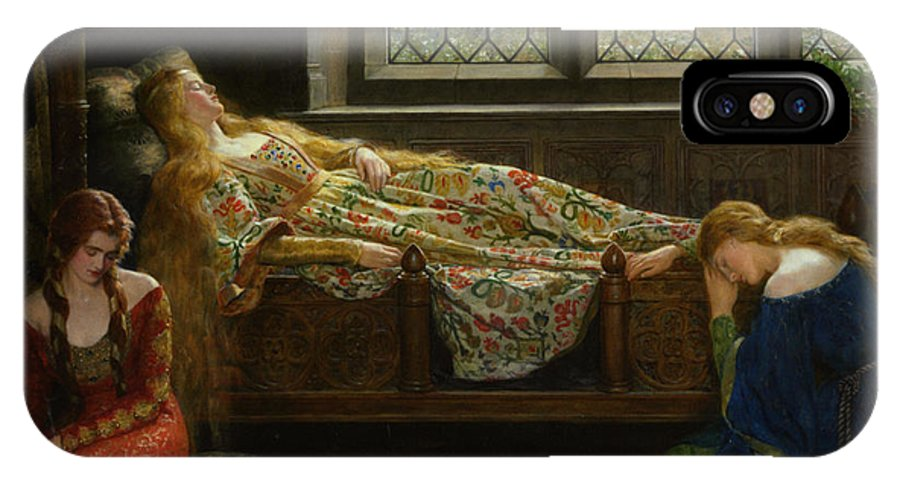 The Sleeping Beauty IPhone X Case featuring the digital art The Sleeping Beauty by John Collier