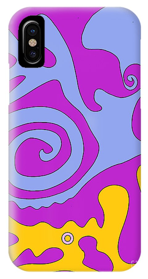 Cathy Peterson IPhone X Case featuring the drawing The Snail Adn The Lizard by Cathy Peterson