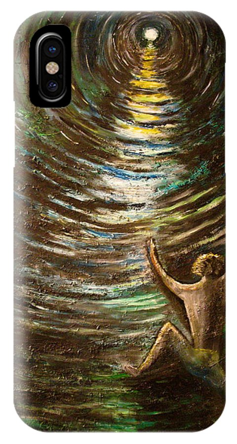 Cave IPhone X Case featuring the painting The Struggle by Frank B Shaner