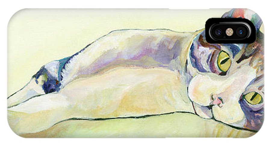 Pat Saunders-white Canvas Prints IPhone Case featuring the painting The Sunbather by Pat Saunders-White