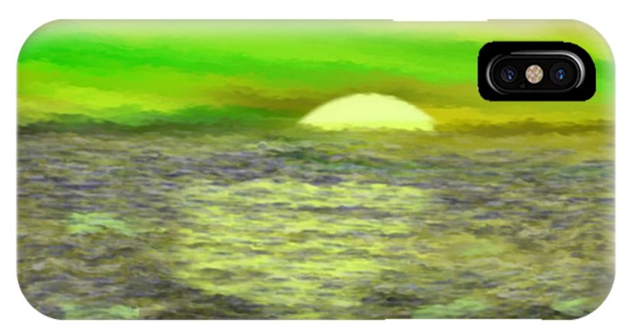 Sun Sea Boat Waves Clouds Light IPhone X Case featuring the digital art The Sun.do Not Go. by Dr Loifer Vladimir