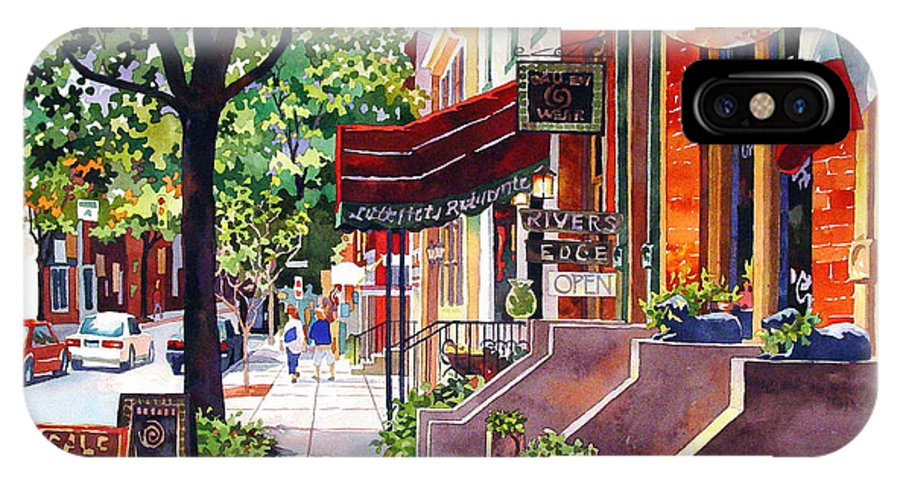 Watercolor IPhone X / XS Case featuring the painting The Sunlit Shops by Mick Williams
