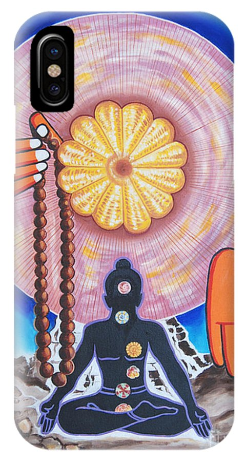 Meditation IPhone X Case featuring the painting The Supreme Power Of Chakras by Ragunath Venkatraman