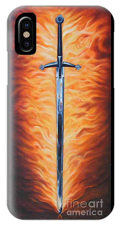 Sword IPhone X Case featuring the painting The Sword Of The Spirit by Ilse Kleyn