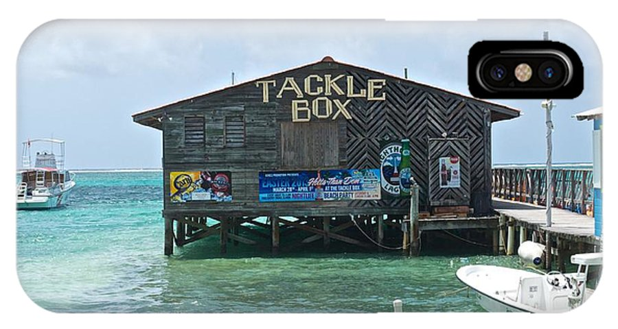 Buildings IPhone X Case featuring the photograph The Tackle Box Sign by Kristina Deane