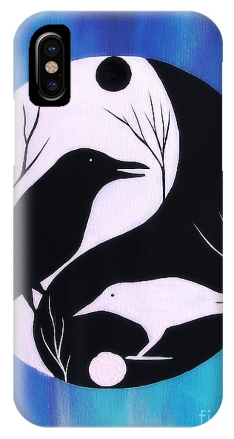 Tao IPhone X / XS Case featuring the painting The Tao Of Crow by Jean Fry