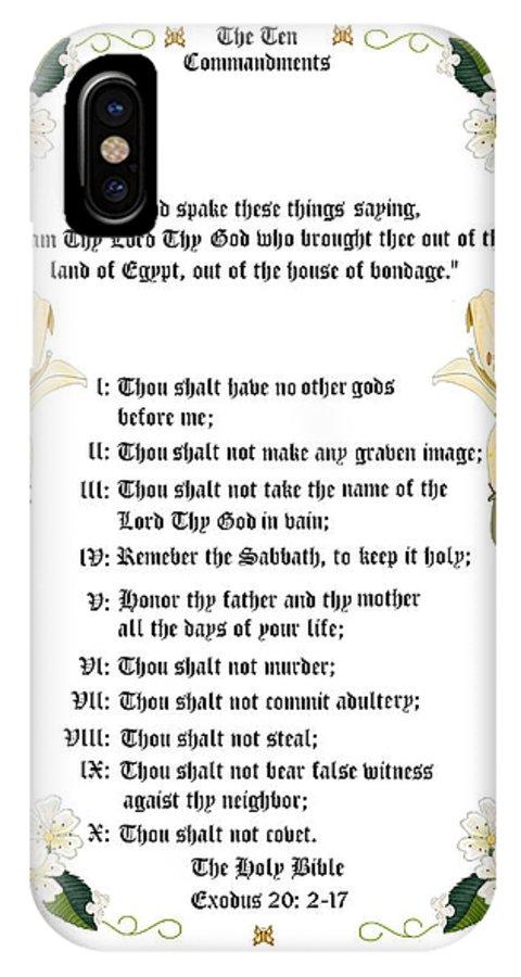 Ten Commandments IPhone X Case featuring the painting The Ten Commandments by Anne Norskog