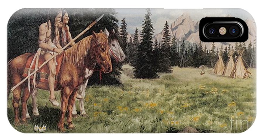 Landscape IPhone X Case featuring the painting The Tetons Early Tribes by Wanda Dansereau