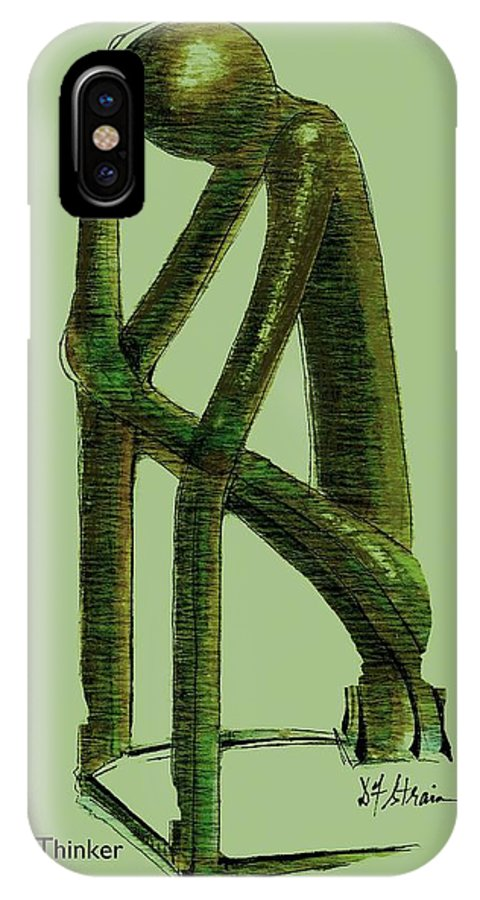 Fineartamerica.com IPhone X Case featuring the painting The Thinker  Number 10 by Diane Strain
