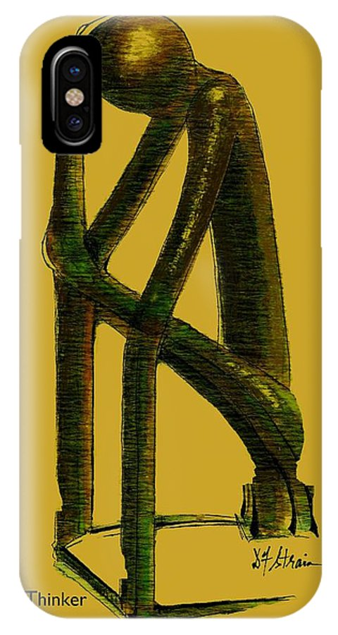 Fineartamerica.com IPhone X Case featuring the painting The Thinker  Number 4 by Diane Strain