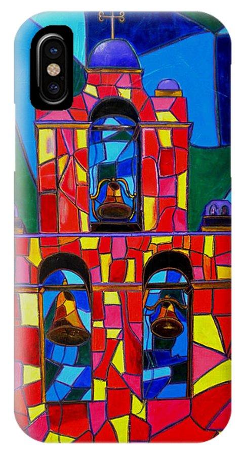 San Jose Mission IPhone X Case featuring the painting The Three Bells Of San Jose Mission by Patti Schermerhorn